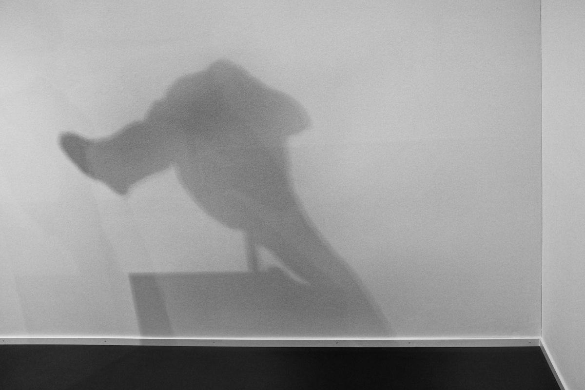 """sich duckende [ hockend ] frau (schatten im kunsthaus zürich der skulptur """"Femme accroupie"""", Auguste Rodin, 1882)"""