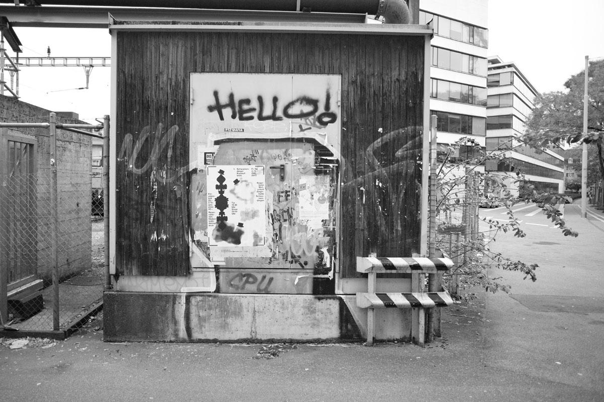 """hello!"", graffiti, röntgenstrasse, zürich"