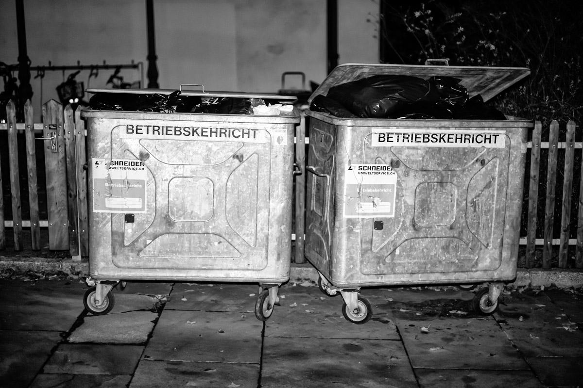 die zwei müllcontainer des kunsthauses in zürich